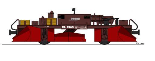 , MECF , Modelleisenbahn Club Flawil , Spurpflug RhB Xk 9143 , Typenzkizze , Zeichnung, MECF, Modelleisenbahn Club Flawil